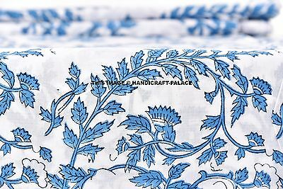 2.5 Yd Floral Print Fabric Natural-Handmade Cotton-Indian Dressing Decor Craft