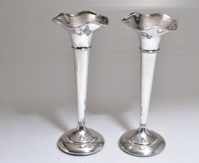 Pair of 1924 English Edward Barnard Sons Sterling Silver Large Trumpet Vases