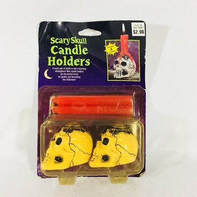 Vintage HALLOWEEN Scary Skull CANDLE Holder With Candles NEW