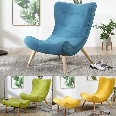 Modern Bedroom Occasional Chaise Chair Retro Armless Seat with Footstool Cushion
