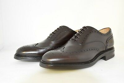 MAN-8½eu-9½us-OXFORD WINGTIP -FRANCESINA-BROWN CALF-VITELLO MARRONE-LEATHER SOLE