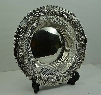 "Victorian Sterling Silver Bread bowl Repousse pierced border 9 "" M Bros 1891."