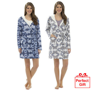 Foxbury Women s Printed Sherpa Lined Hooded Dressing Gown Bath Robe Perfect  Gift fccb4eac7