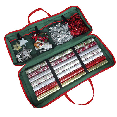 Christmas Gift Wrap Fabric Storage Bag -  For Paper, Tags & Bows