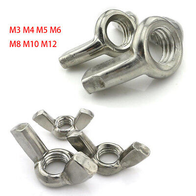 M3 M4 M5 M6 M8 M10 M12 Butterfly Nut Wing Nuts  A2 Stainless Steel DIN 315