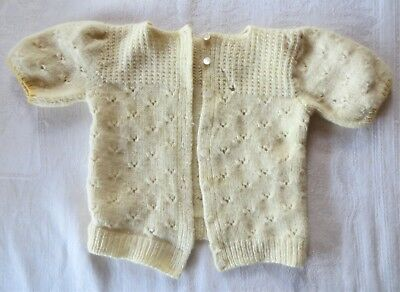 Vintage Hand Knit Baby Child Sweater Cardigan Pale Yellow Short Sleeves