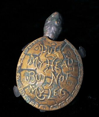 Antique Brass Turtle Pull My Head But Not My Leg Sewing Tape Measure Victorian !