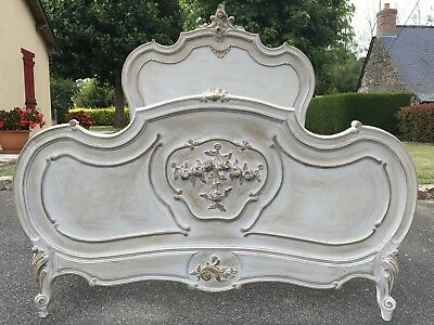 Stunning Antique French Louis XV Double Bed Frame Carved Walnut Painted