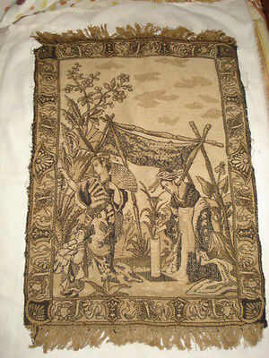 """ANTIQUE CHINESE JAPAN Hand weave SMALL RUG 23""""x 15"""" Black&White"""