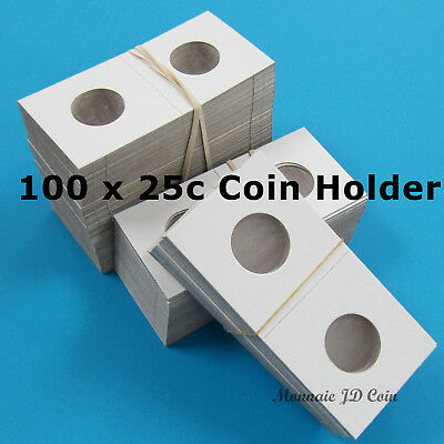 25 Cents 2x2 Cardboard Coin Holder - Pack of 100