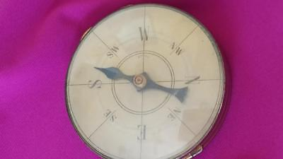Ultra Rare! Old FRENCH Glass Compass Compact  Novelty Working