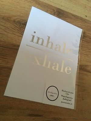 Inhale Exhale Quote Wall Art Foil Bathroom Print A4 A5 Silver Rose Gold marble