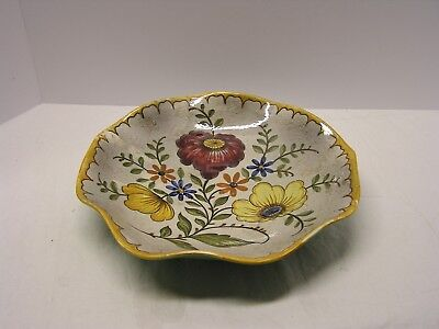 """Gouda Holland Art Pottery """"bertino"""" Floral Scalloped Bowl Handpainted And Signed"""