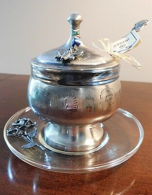 "Vintage Etched Metal 5"" Honey Pot w/Glass Liner-Glass Saucer-Finial Lid-Spoon"