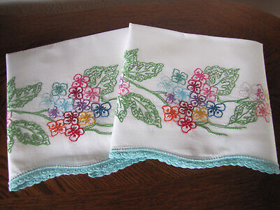 Vintage Pair Pillowcases Embroidered Crocheted Scrolling Garland Cherry Blossoms