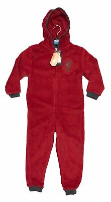 Boys Official Liverpool LFC Hooded All In One Fleece Kids Children 4 6 8 10 12