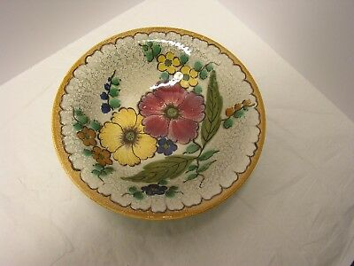 """Gouda Holland Art Pottery """"areo"""" Floral Footed Bowl Handpainted And Signed"""