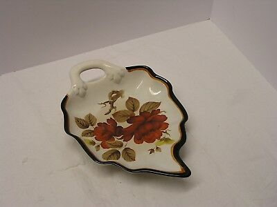 """Gouda Holland Art Pottery """"modica"""" Floral Leaf Dish Handpainted And Signed"""