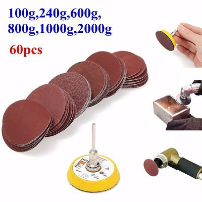 60pcs 100 to 2000 Grit Sand Paper Set 50mm Hook and Loop Sanding Pad 3mm Shank