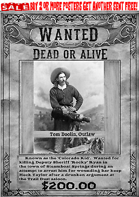 Old West Wanted Poster Outlaw Western Cowboy Earp Ringo Reward