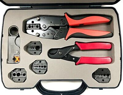 Quick Interchangeable Coax Crimping Tool Kit with Crimper Cutter Stripper 9pcs