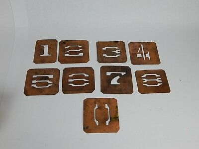 """Antique Copper Number Stencils Lot of 9 - Most are 3""""x4""""ish"""