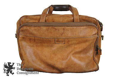 """16"""" Vintage Hartmann Brown Leather Distressed Travel Gym Bag Carry On Duffel"""