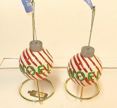 Ceramic Round Ball Ornament Lot of 2 Peppermint Stripes by Roman No Display