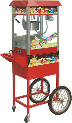 Hot Commercial Electric 8 oz Popcorn Maker Machine / Display Cabinet Cart Cycle