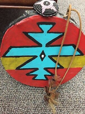 Vintage Handmade and Hand Painted Native American Drum Could Be Tarahumaran