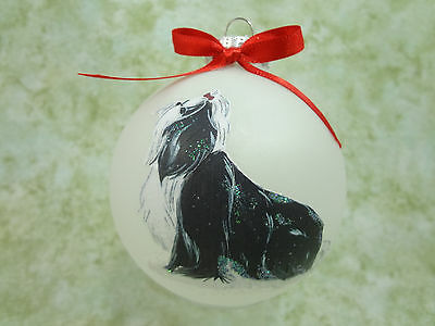 D047 Hand-made Christmas Ornament dog - Shih Tzu - black & white regal sitting