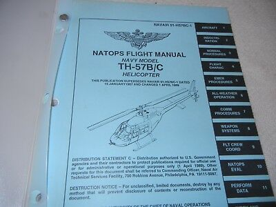 Natops Flight Manual Navy Model Th-57B/c Helicopter 1992 Xlnt Condition Binder