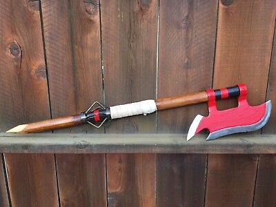 Buffy the Vampire Slayer inspired steel and wood industrial style scythe-axe