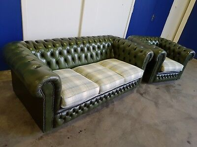 Antique Green Leather Chesterfield Lounge Suite 3 Seater Sofa & Club Chair