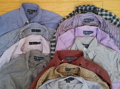 Reseller Lot of 11 Ralph Lauren Mens Long Sleeve Shirt S M L 2XL 15.5 16.5 17.5