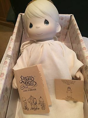 """Vintage Precious Moments """"Aaron"""" Porcelain Doll With Original Box And Tag (NEW)"""