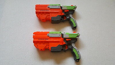 Lot of 2 Nerf Vortex Vigilon Soft Disc Gun Blasters Tested Work Great