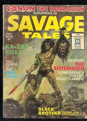 Savage Tales #1 Man-Thing's 1st App. Classic Conan Cover 1971 Key See Images!