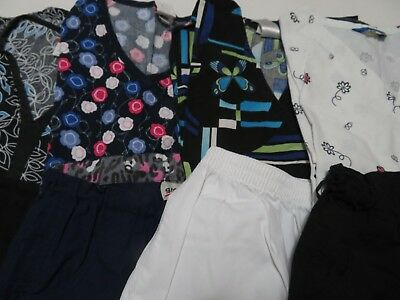 Womans Lot Of Scrub Sets 4 Tops And 4 Pants Very Nice Size Medium (Box 413)