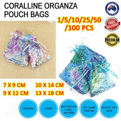 Coralline Organza Wedding Gift Party Pouch Bag Jewellery Packing 9x12cm 7x9cm