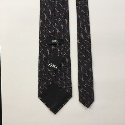 new Hugo boss tie blue brown pattern made in Italy nwt 100% silk necktie pa0041
