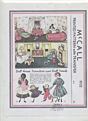 Vintage -1938 - Adorable-Doll House,furniture And Doll-Even A Dog -  Pattern -#2