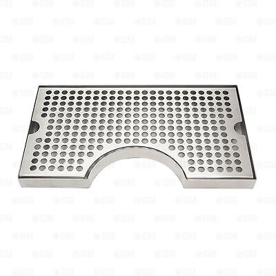 """12"""" x 7"""" Kegerator Tower Cutout Drip Tray Stainless Steel Removable Grate"""