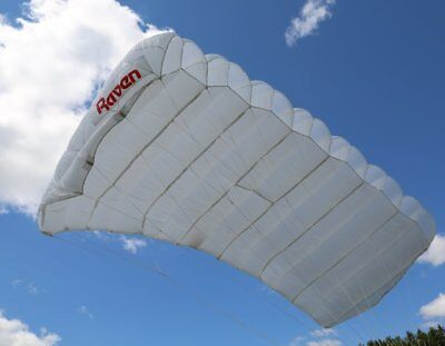 MicroRaven 150 sq ft skydiving parachute reserve canopy - white, excellent shape