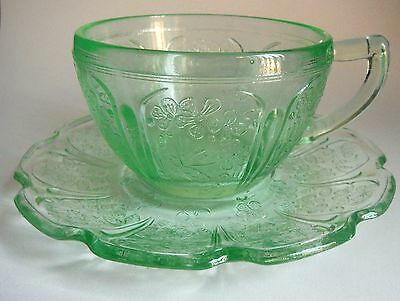 JEANNETTE / Cherry Blossom / Green Cup & Saucer / 1930-39 Depression Glass