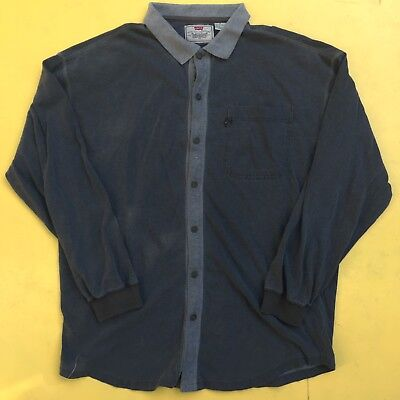 Vintage Levis Mens Large Long Sleeve Cotton Shirt Collared Polo