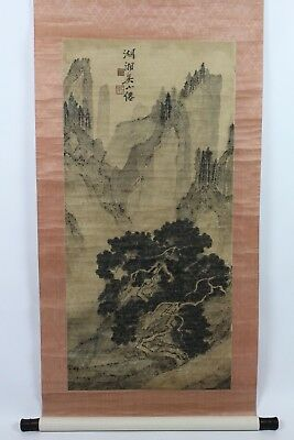 Old Chinese Watercolor On Paper Scroll Painting Of Landscape