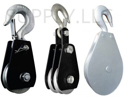 HEAVY DUTY PULLEY BLOCK Swivel Hook Wire Rope & Aircraft Cable Galvanized Steel