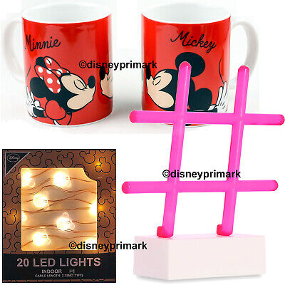 Disney LED Light MICKEY MINNIE Mouse Shaped Primark Mugs Neon #Hashtag Xmas Gift