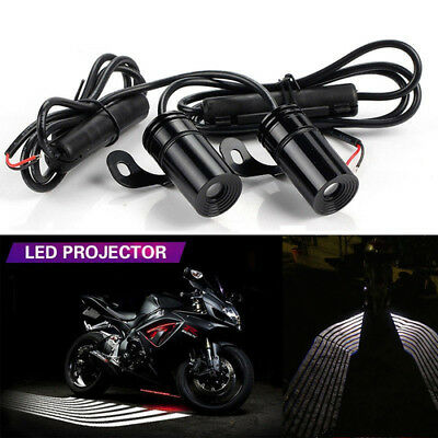 2x Angel Wings White LED Projector Lamp Motorcycle Courtesy Shadow Welcome Light